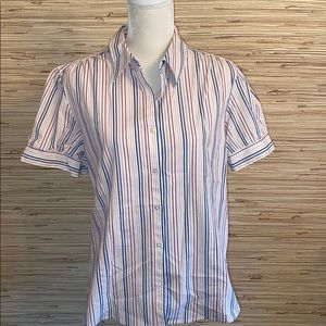 George stretch striped button shirt sleeve top XXL